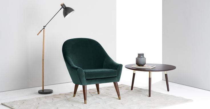 Seattle Armchair, Petrol Cotton Velvet from Made Blue - designer mobel klassik trifft moderne neuer kollektion von lemonde