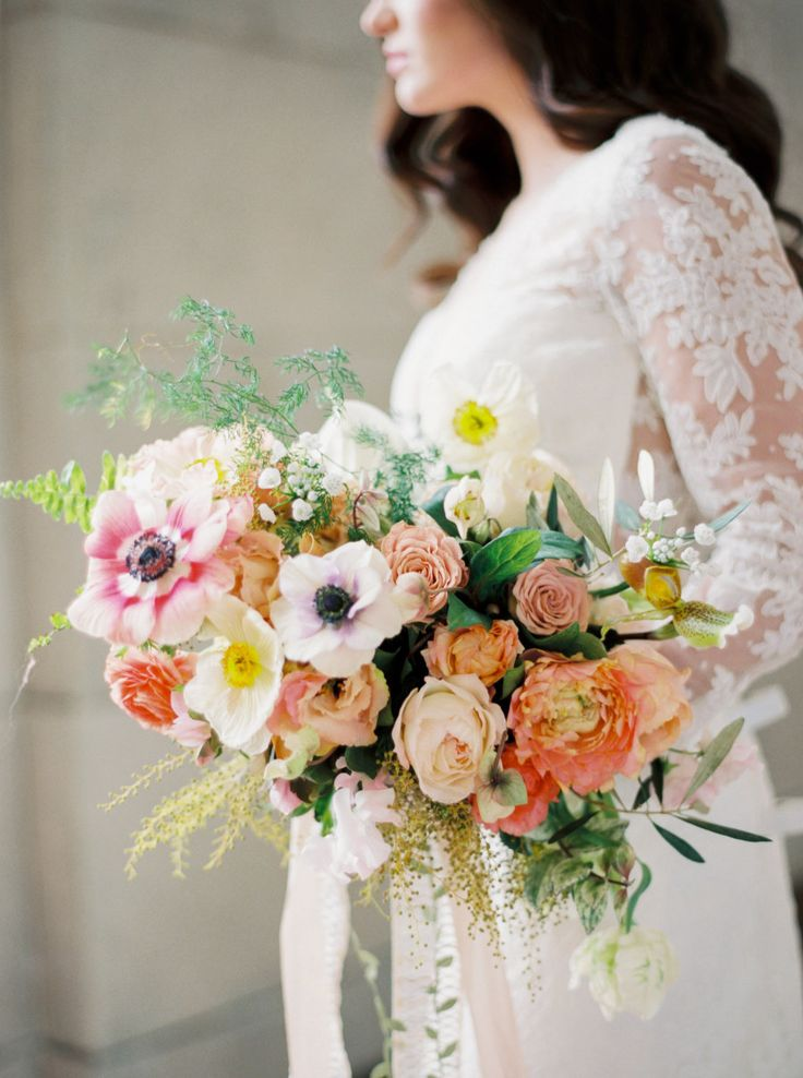 Colorful wedding bouquet: Photography: Erich McVey Photography - erichmcvey.com Read More on SMP: http://www.stylemepretty.com/2017/04/13/spring-bridal-session/