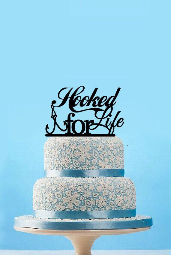 Hooked For Life Fishing Wedding Cake Topper Custom by designsgift