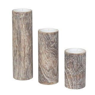 Waxinelichthouders hout in diverse maten: Ø 5.8 x h 10, 15 of 20 cm. Vanaf: € 2.49.