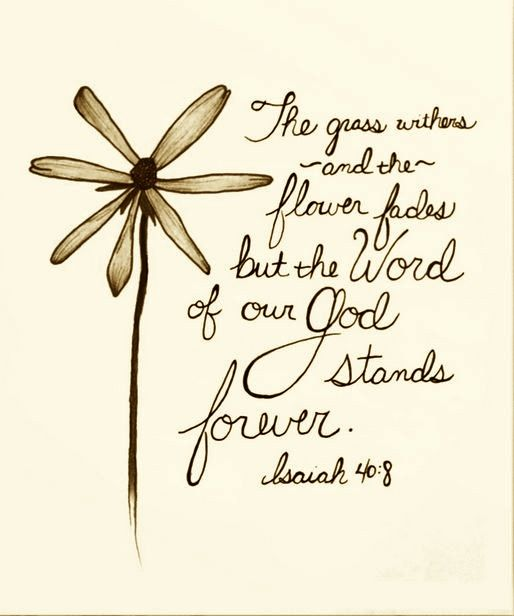 "The grass withers, the flower fades, But the word of our God stands forever."" (‭Isaiah‬ ‭40‬:‭8‬ NKJV)"