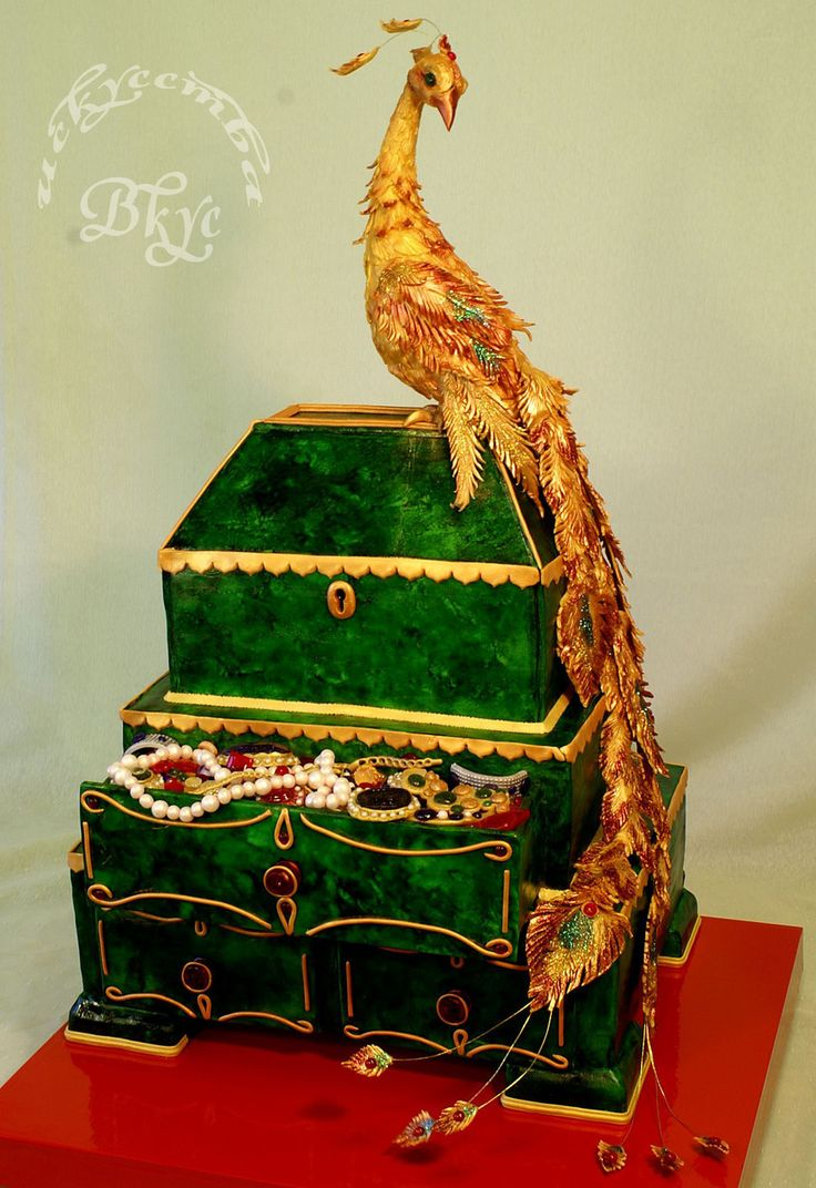 Wedding Cake The Malachite Larets And Fire Bird 20 Kg Three Level Pie And Birdie Height Is 76 Cm