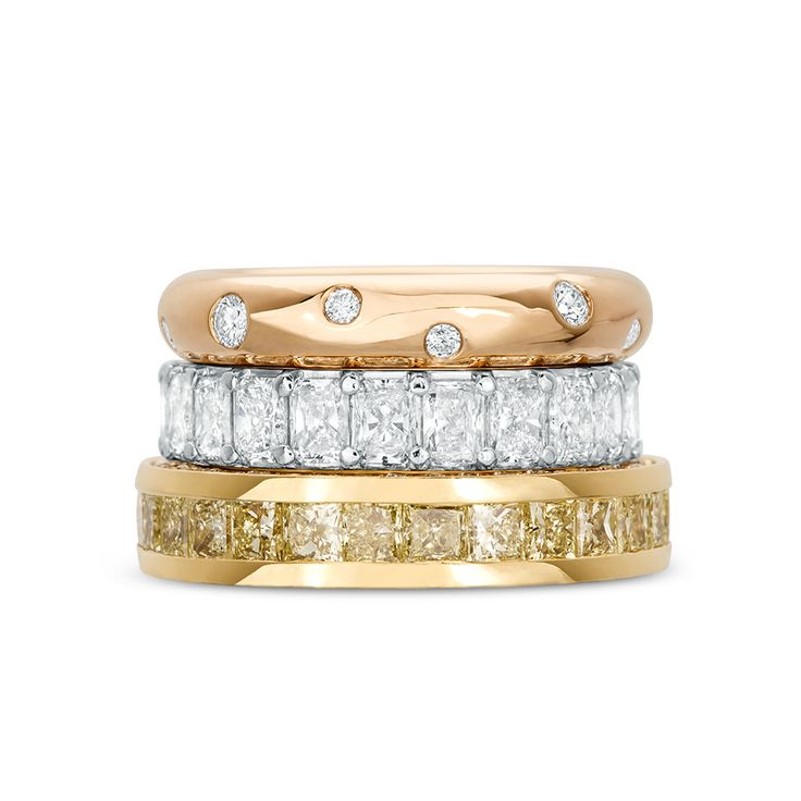 Want a statement wedding ring? Look no further than Rosendorff, we love these bold options for your big day.