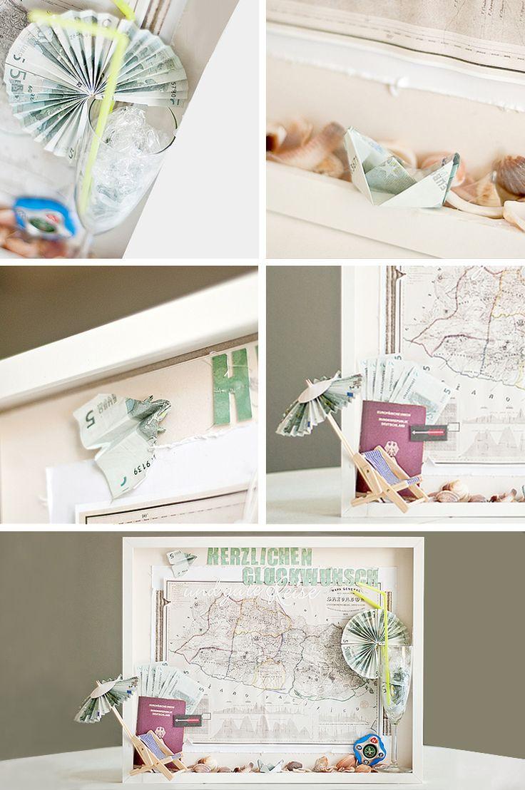 Geschenkverpackung basteln - Hochzeitsgeschenk Geld Bilderrahmen