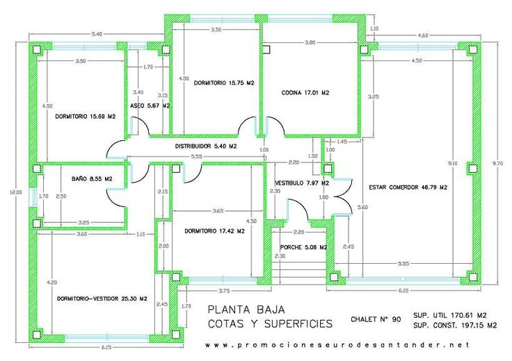 Modelo de chalet 90 planta baja planos casa pinterest - Plano de chalet ...