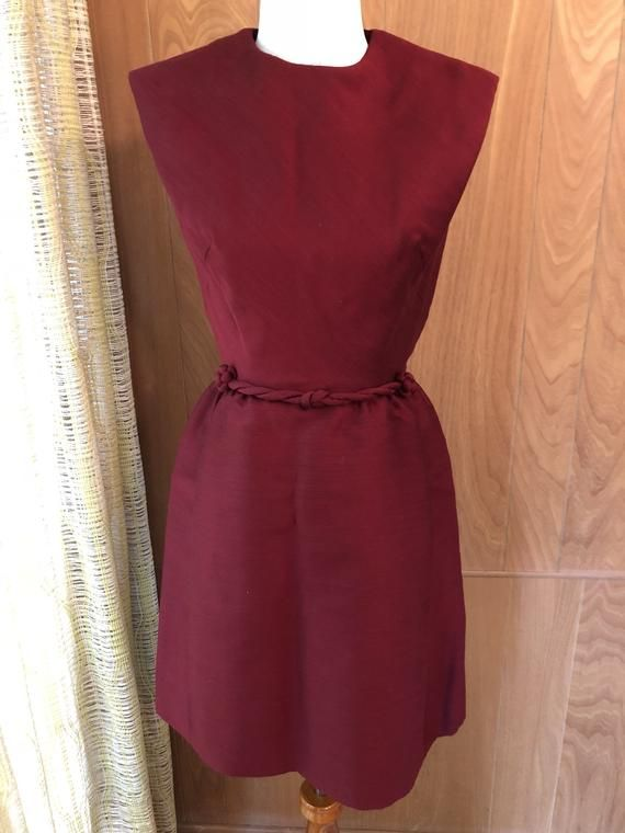 Vintage 60s Impeccably Tailored Deep Burgundy Cocktail Dress