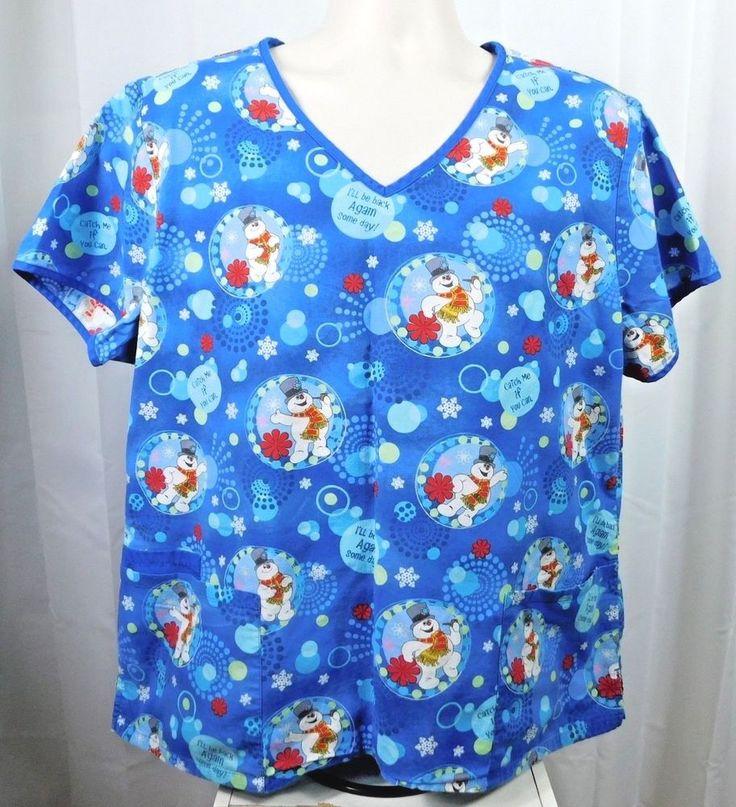 Frosty the Snowman Womens Scrub Top XL Blue Snowflakes Cotton I'll Be Back Again #FrostytheSnowman
