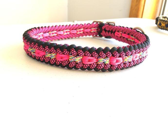 Adjustable dog collar -Black, pink and rainbow -  Paracord