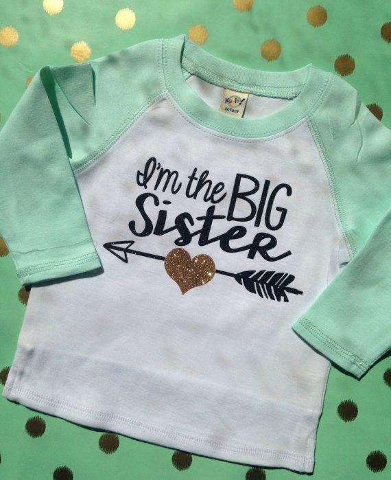 Big Sister Arrow Shirt Raglan Big Brother Shirt by PurplePossom