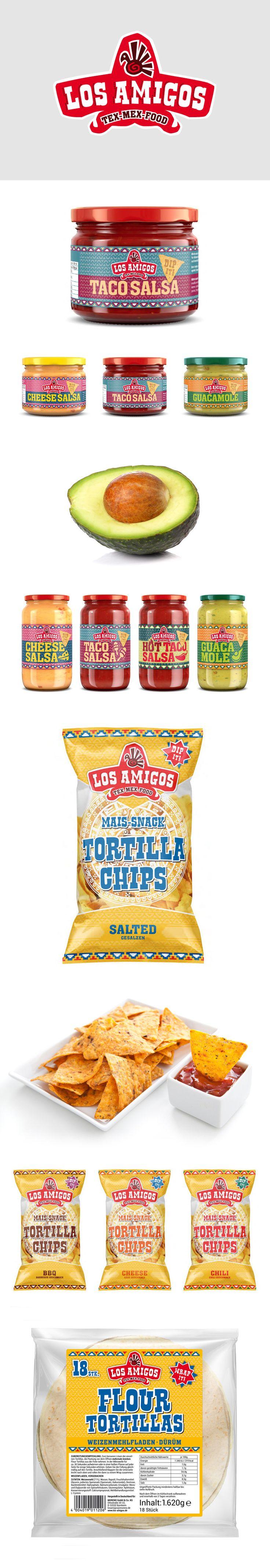 Re-Branding for Los Amigos Tex Mex Food. Packaging - Nachos - Salsa - Wraps