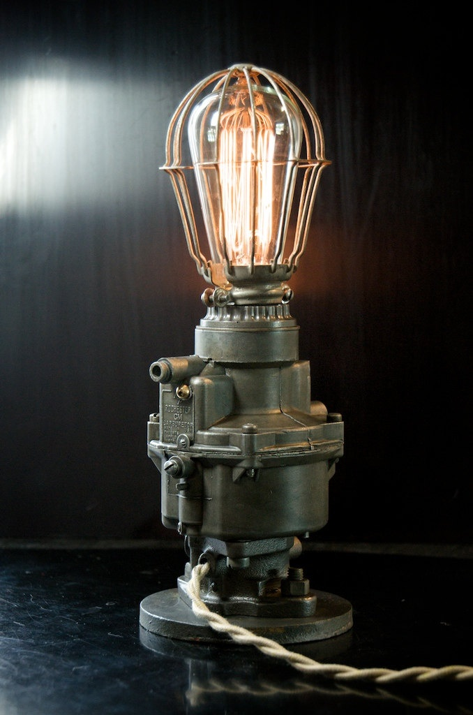 Machine Age / Diesel Punk / General Motors Rochester Carburetor Lamp with wire bird cage shade. $285.00, via Etsy.