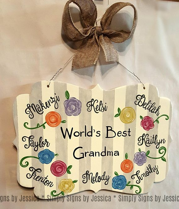 Grandma or Mother custom wooden sign personalized with names  #mothersday #woodensign #doorhanger #mom #grandma