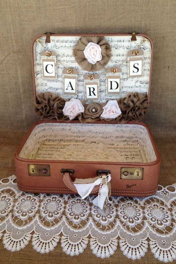 14 best Shabby Chic Wedding Card Vintage Suitcase images on ...