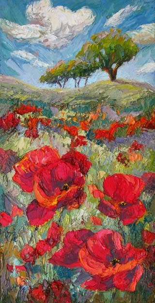 Artists Of Texas Contemporary Paintings and Art - New Poppy Field Painting by Contemporary Impressionist, Niki Gulley: