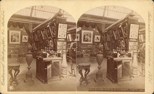 Roger Fenton, Centennial Photographic Co. Wilson, Hood & Co.'s exhibit - Photographic Hall, 1876. Stereoview, 11 x 18 cm. Free Library of Philadelphia.