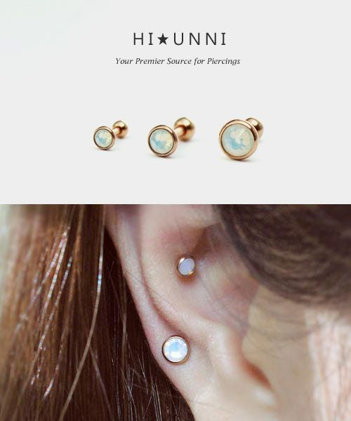 16g Opalite Cartilage Earring Barbell / Rose Gold IP over 316L Surgical Steel / Tragus cartilage conch helix ear studs / Single earring