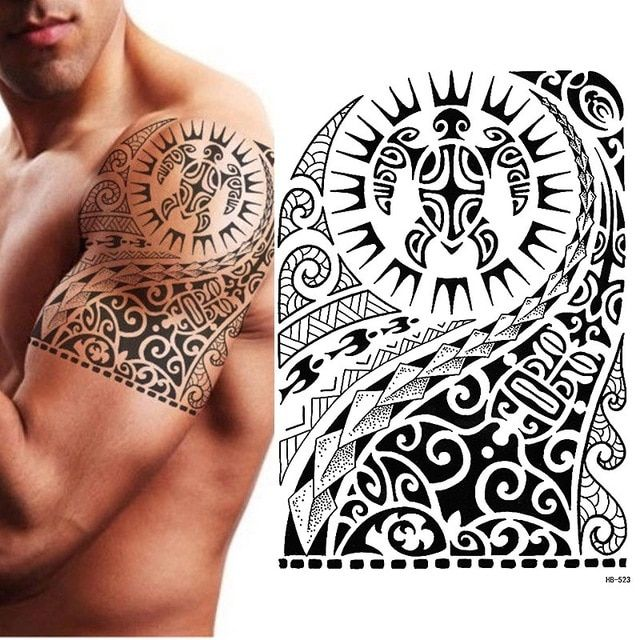Tribal Temporary Tattoo, Maori Turtle, Polynesian, Black, Mens, Womens   – viviana