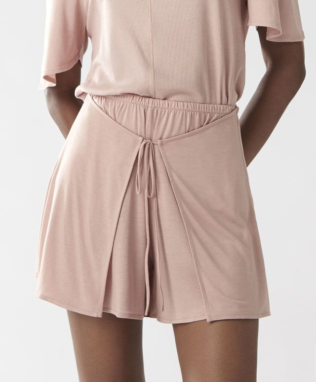 Pink lyocell sarong wrap skirt - New In - PYJAMAS | Oysho