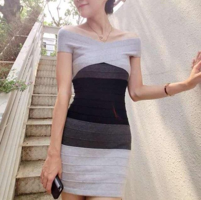Sexy Club Dress New Women Summer Style Off Shoulder Bodycon Bandage Dress Celebrity Knitted Striped Party Dresses