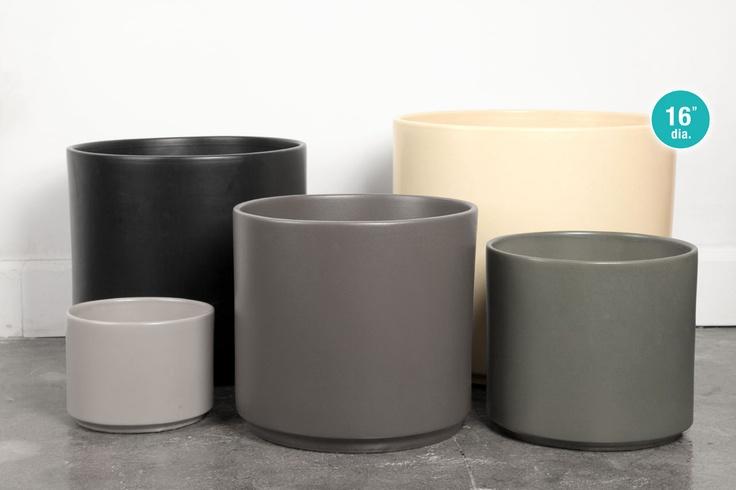 Gainey 16 Inch Ceramic Cylinder Planter Pots Pigment