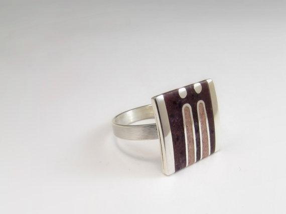 Sterling Silver Ring  Soft Colors by maldonadojoyas on Etsy, $55.00