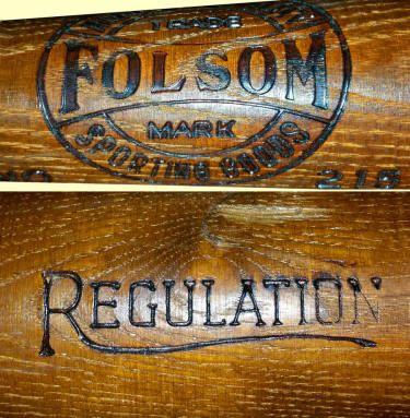 Vintage Baseball Bat Featuring The Folsom High Quality Sporting Goods Trade Mark Logo
