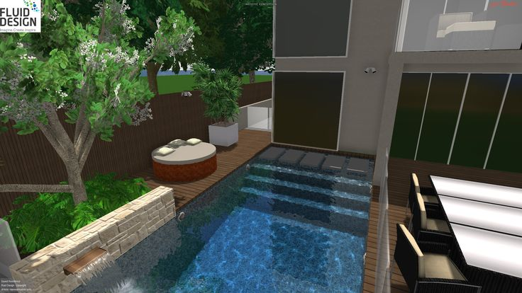 Floating stepping stones get you across to the timber sun deck and raised planter w/ water spout to pool