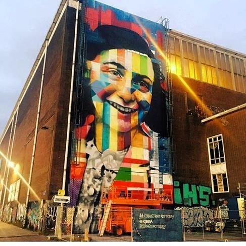 "Eduardo Kobra, ""Portrait of Anne Frank"" in Amsterdam, 2016"