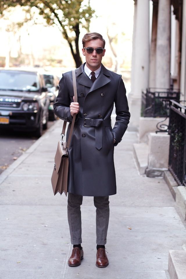 filippocirulli:  My outfit in New York City: Salvatore Ferragamo leather trench coat, Boglioli pants, Salvatore Ferragamo shoulder briefcase, Belfiore shoes.