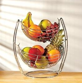 """NEW! Double-Tier Produce Basket  Product #: FF2779  Price: $24.98        This sleek doubletier storage basket provides 360° of air circulation, helping to keep your produce fresher, longer. The sturdy chrome-plated metal design makes for ideal pantry storage or an attractive countertop display. Great for storing apples, oranges, potatoes, onions and more.      (15""""H x 15""""L x 11""""W) http://katherinel.shopregal.ca"""