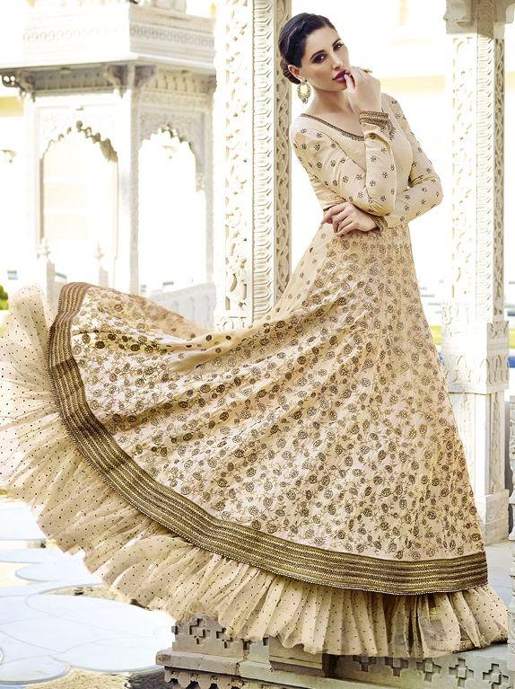 Buy Golden Beige Floor Length Anarkali Suit | UK Online Designer Outlet