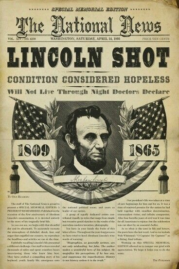1865  ---   The assassination of United States President Abraham Lincoln took place on Good Friday, April 14, 1865, as the American Civil War was drawing to a close.