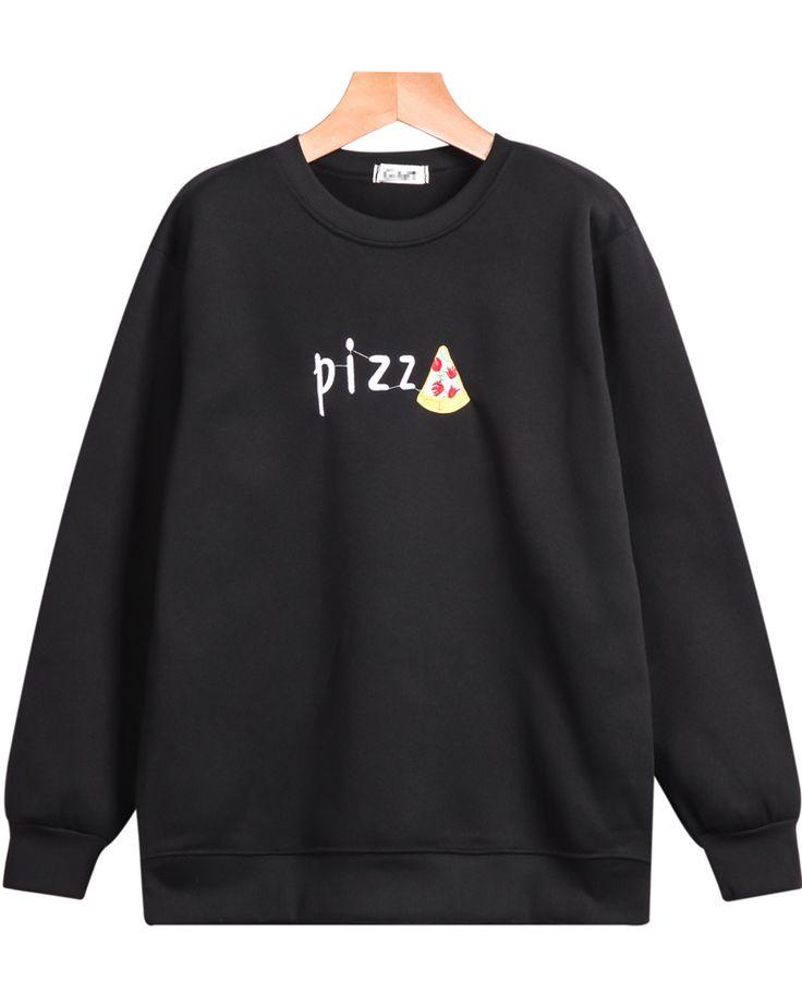 Sudadera suelta Pizz manga larga-negro 11.33