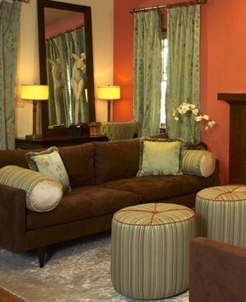 Gold Walls Brown Sofa Sage Curtains My Sofa And