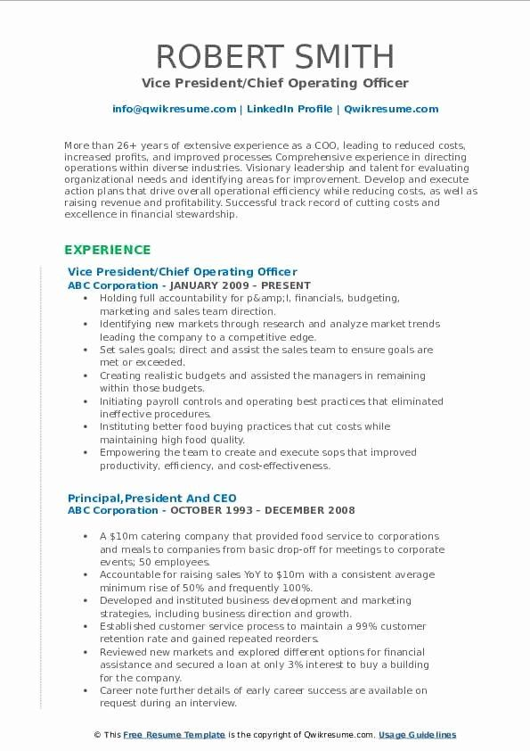 Chief Operating Officer Resume Fresh Chief Operating Ficer Resume Samples Chief Operating Officer Resume Best Resume Template