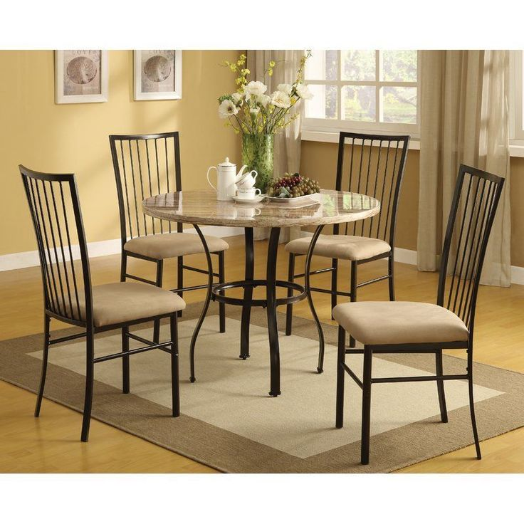 Roung Dining Set Kitchen Room 5 Pc Table And Chairs Modern Breakfast Furniture #RoungDiningSet
