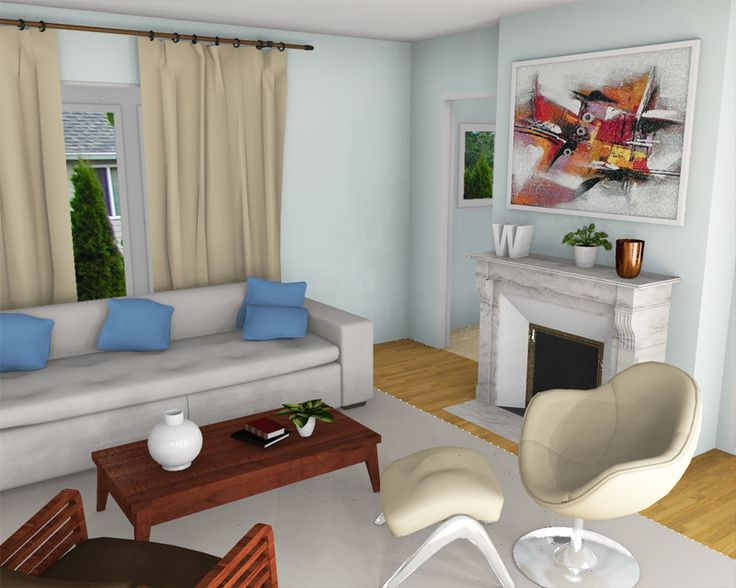 Blue Living Room Render Experimenting With Different Camera Angles And Lighting Photoshoped The