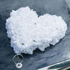 Autoschmuck Rosenherz in weiß, gefüllt
