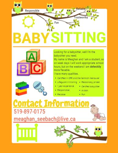 11 best Baby sitting images on Pinterest Babysitting flyers - babysitting flyer template