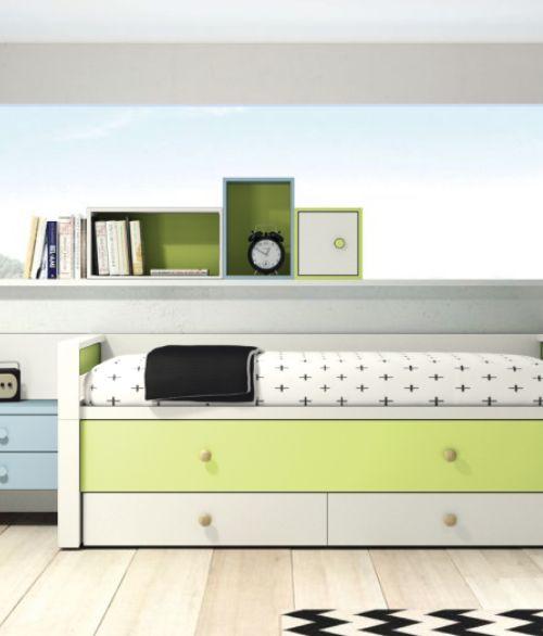 Letto singolo Homeage Comfort Plus, con 2 cassetti portaoggetti e secondo letto estraibile.