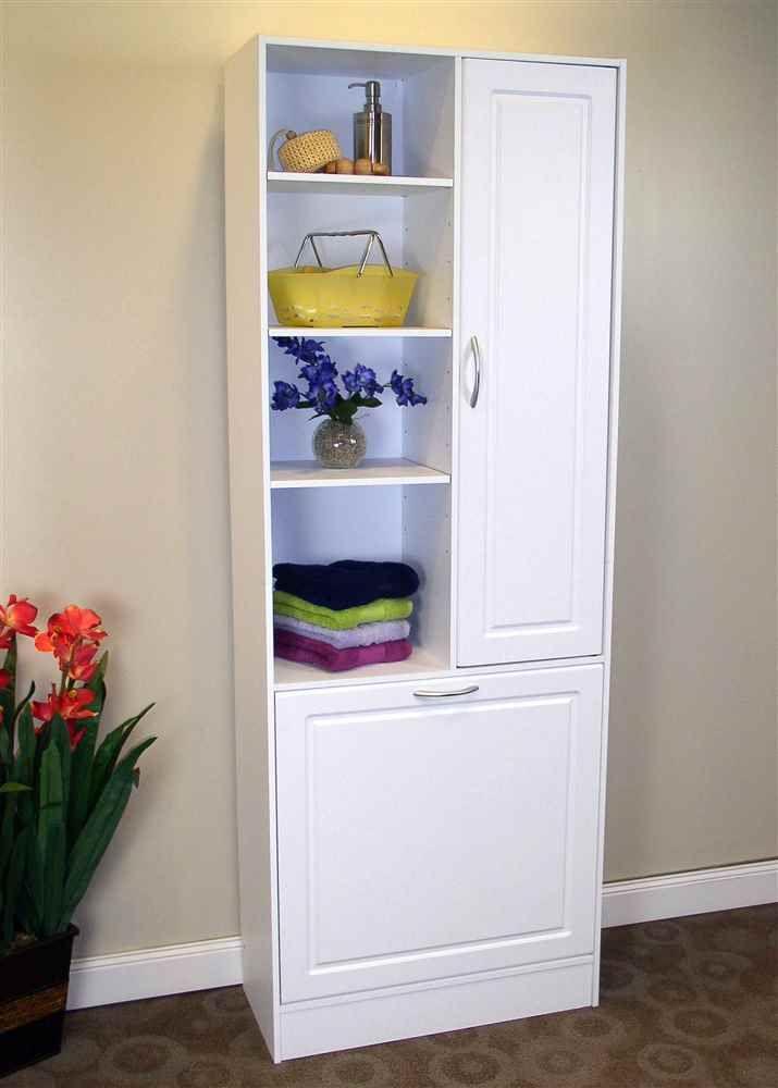 Linen Cabinet w Laundry Hamper in 2020 | Tall bathroom ...