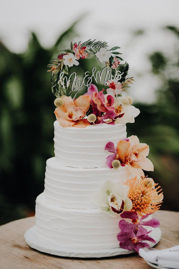 Tropical Wedding Cake Topper Floral Wreath Mr Mrs Colorful