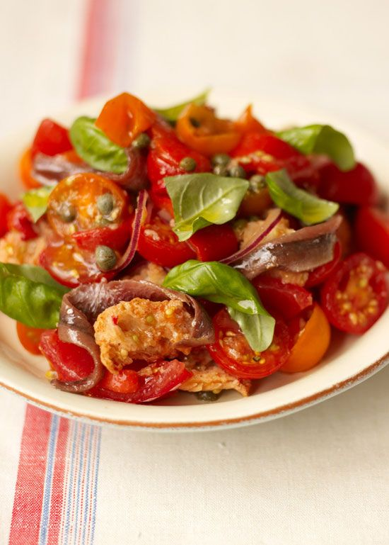 italian tomato & bread salad | Jamie Oliver |  Ok -- this is the first thing I'm making with our garden tomatoes this year!