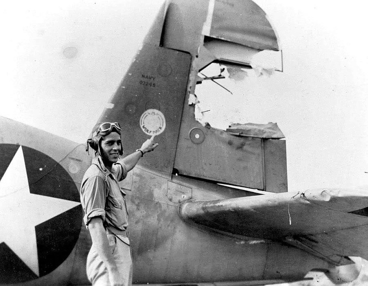 Battle damaged Navy F4U Corsair