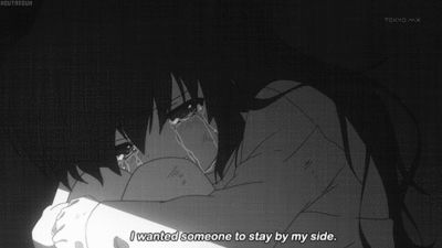 Anime Girl crying -- I wanted someone to stay by my side.