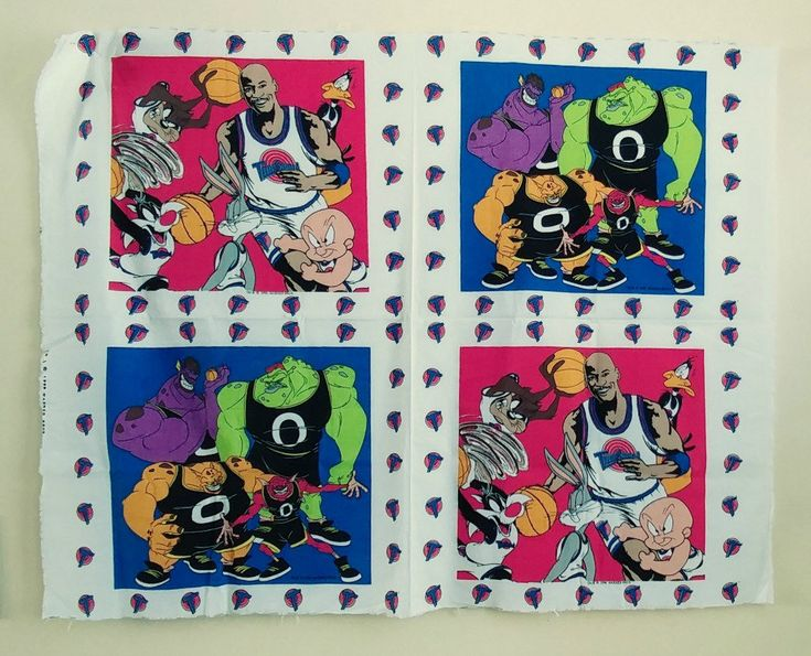 Space Jam! From 1996 now in my #etsy shop: Fun pillow panels with Michael Jordan, basketball and Looney Tunes. http://etsy.me/2FkEnrz #vinagepillows #basketball #kidsdecor #spacejam #michaeljordan #bugsbunny #porkypig #daffyduck