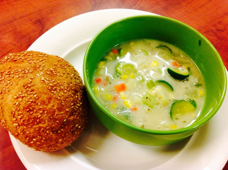 corn chowder with a toasted fresh bun and garlic-cilantro toasted naan ...