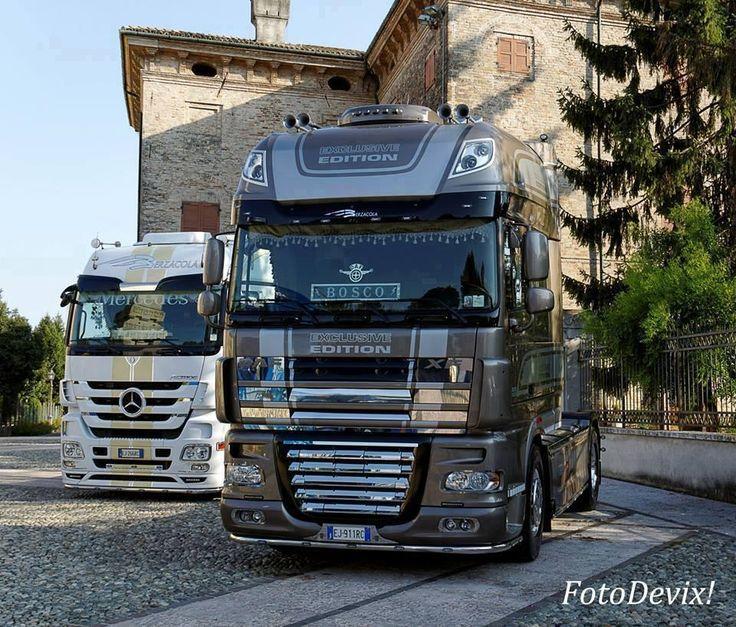 Mercedes (left/back) DAF (right)