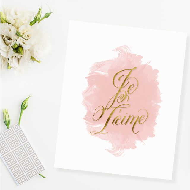 Je T'aime Gold Foil Watercolor Print -  Simple yet sophisticated, we love the glamorous gold and feminine blush pink touches: Foil Watercolor, Gold Print, Gold Watercolor, Watercolor Prints