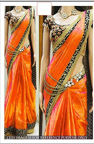By Design deals in female ethnic wear clothes .By Design is a women\'s ethnic clothing Online Shopping Store that lies in the heart of SURAT.By Design committed to providing its customers complete satisfaction.Make Your Look Ravishing By Draping This Elegant Saree From The House Of By Design Online Store.Designer Orange Silk Saree With Velvet Work Blouse. With 5.5 Metres Length Of Saree And 80 Cms Of Blouse And Which Can Be Washed Easily Without Special Care.Which Is Weares On Special…